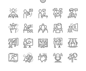 Public Speech Well-crafted Pixel Perfect Vector Thin Line Icons 30 2x Grid for Web Graphics and Apps. Simple Minimal Pictogram