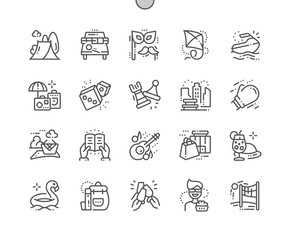 Leisure Well-crafted Pixel Perfect Vector Thin Line Icons 30 2x Grid for Web Graphics and Apps. Simple Minimal Pictogram