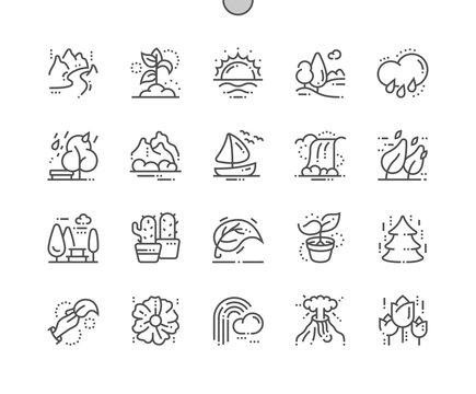 Nature Well-crafted Pixel Perfect Vector Thin Line Icons 30 2x Grid for Web Graphics and Apps. Simple Minimal Pictogram