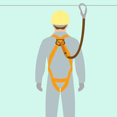 worker climbing safety belt vector illustration flat