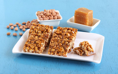 Chikki, an Indian traditional and popular sweet, is made from peanuts and jaggery.