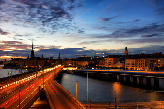 Stockholm skyline at twilight