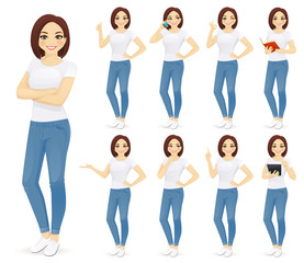 Woman in jeans set with different gestures isolated