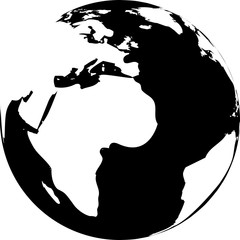Vector illustration of black and white globe. Continents are white, seas and oceans are black