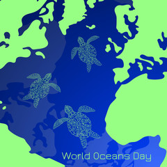 World Oceans Day. Part of the earths surface is the ocean, continents, islands. Sea Turtles swimming