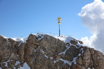 Top of Germany – the Summit Cross of Zugspitze Mountain. Germany