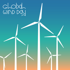 Global Wind Day. Wind turbines against the background of the sky