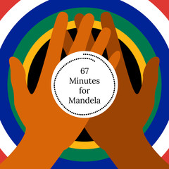 Nelson Mandela International Day. 18 July. 67 Minutes for Mandela. Circle with flag of the Republic of South Africa colors