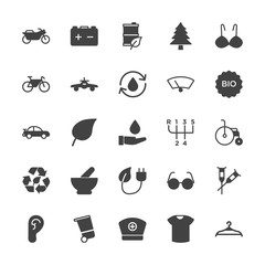 Modern Simple Set of transports, health, clothes, nature Vector fill Icons. Contains such Icons as  style,  fashion, health,  vehicle, ear and more on white background. Fully Editable. Pixel Perfect.