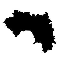 black silhouette country borders map of Guinea on white background. Contour of state. Vector illustration