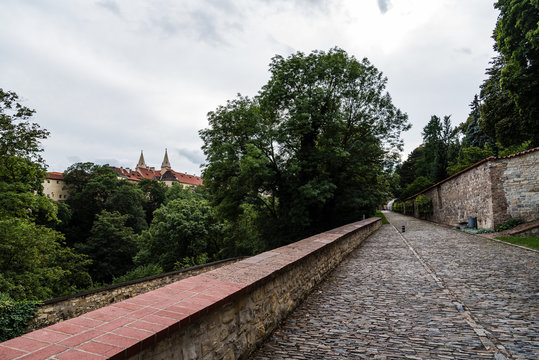 Cobblestoned footpath in the Royal Garden of Prague Castle