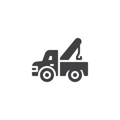 Tow truck vector icon. filled flat sign for mobile concept and web design. Auto service simple solid icon. Symbol, logo illustration. Pixel perfect vector graphics