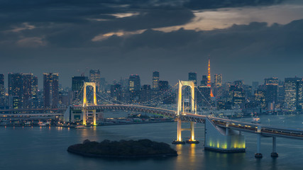 Wall Mural - Tokyo skyline with Rainbow bridge and Tokyo tower. Tokyo, Japan.
