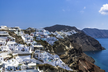 Small houses on the slopes of Santorini