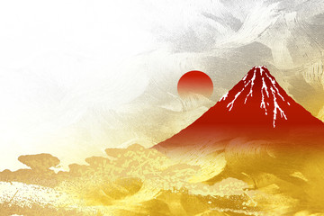 金箔の屏風を背景にした富士山