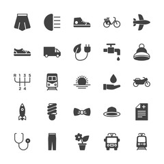Modern Simple Set of transports, health, clothes, nature Vector fill Icons. Contains such Icons as  pharmacy,  shine, room, public,  dress and more on white background. Fully Editable. Pixel Perfect.