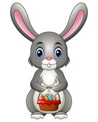 Cute Cartoon Rabbit Holding a Basket with Eggs