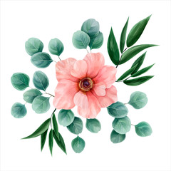 Flower watercolor, vector illustration. Botanical design. Pink anemone surrounded by eucalyptus leaves and italian ruscus. Vector