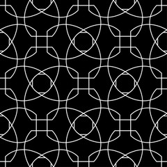 Black and white geometric ornament. Seamless pattern
