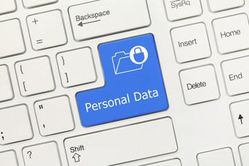 White conceptual keyboard - Personal Data (blue key) Wall mural