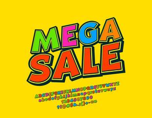 Vector Bright Modern Emblem Mega Sale. Colorful Comic Font. 3D Alphabet Letters and Numbers