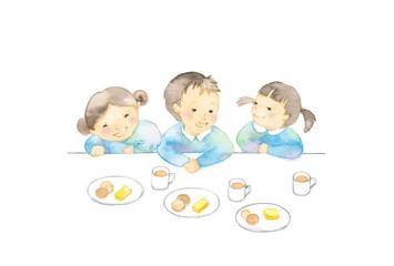 幼児、3人、おやつ