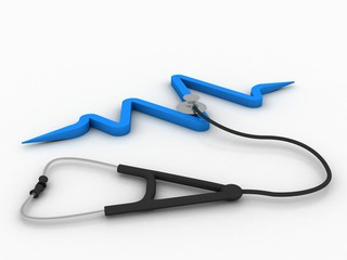 3d rendering stethoscope with ecg graph