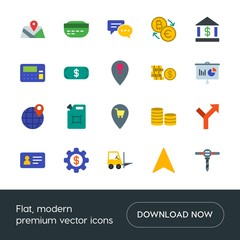 Modern Simple Set of business, industry, money, location Vector flat Icons. Contains such Icons as sign,  way,  sign, fuel,  pin,  business and more on white background. Fully Editable. Pixel Perfect