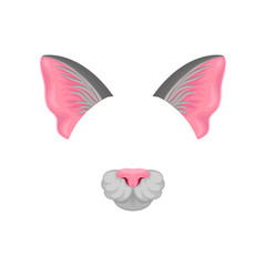 Detailed flat vector icon of pink cat s ears and nose. Mask of domestic animal. Element of carnival costume. Design for mobile app