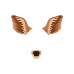 Brown ears and black nose of little deer. Animal mask for carnival. Detailed flat vector design for mobile messenger or application