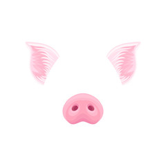 Cute pink pig s ears and nose. Funny mask of domestic farm animal. Detailed flat vector design for sticker of mobile messenger