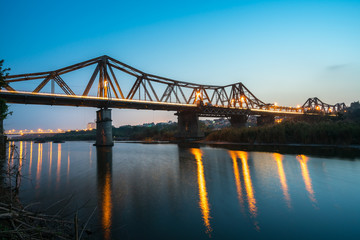 Long Bien bridge in Hanoi, Vietnam at twilight