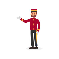 Young bearded guy in bellboy uniform. Employee of hotel service. Colorful flat vector design