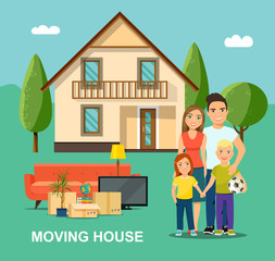 New house for family. Mother and father with children. Happy family isolated. Moving House. Vector flat style illustration