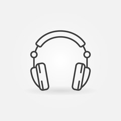 Headphones vector icon in thin line style