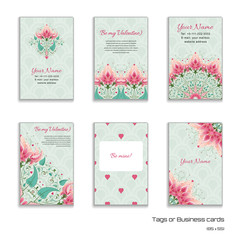 Set of six vertical business cards with delicate ornament and fantasy floral background. Wedding or Valentine's Day. All design elements consist of hearts. Place for your text.