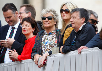 Singer Rod Stewart attends before Pope Francis arrives to lead the Wednesday general audience in Saint Peter's square at the Vatican