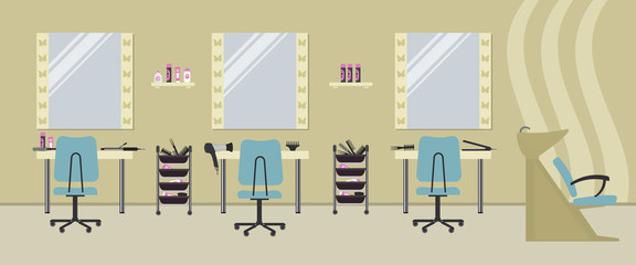 Interior of a hairdressing salon in a beige color. Beauty salon. There are tables, blue chairs, a bath for washing the hair, mirrors, hair dryer, combs and other objects in the picture. Vector