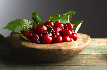 wooden basket with cherries