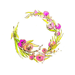 Watercolor Wreath with Spring Flowers. Can be used as a Print for Fabric, Background for Wedding Invitation, Romantic Greeting Card.