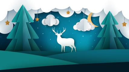 Cartoon paper landscape. Deer illustration. Sun, fir, cloud star Vectore eps 10