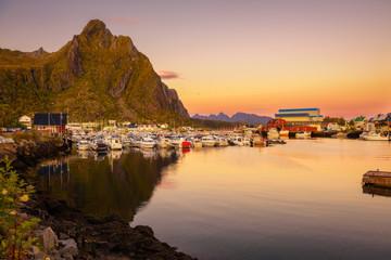 Wall Mural - Many yachts anchored at the Marina of Svolvaer on Lofoten islands