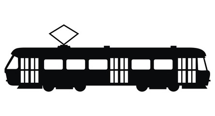 tram, vector icon, black silhouette