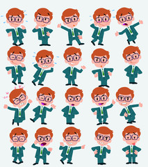 Cartoon character businessman with glasses. Set with different postures, attitudes and poses, doing different activities in isolated vector illustrations.