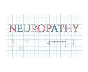 Neuropathy word on checkered paper sheet- vector illustration