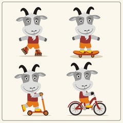 Set of isolated funny goat on bike, skateboard, scooter and roller skates.