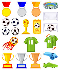 Colorful cartoon soccer 20 elements set