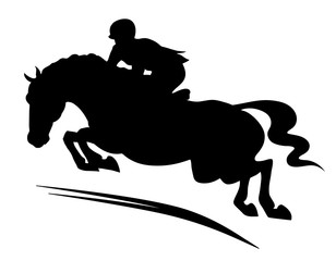 A silhouette of a rider on a horse jumping over an obstacle.