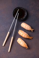 Close-up japanese sushi nigiri with shrimp