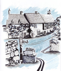Old English houses by the road. Sketch.